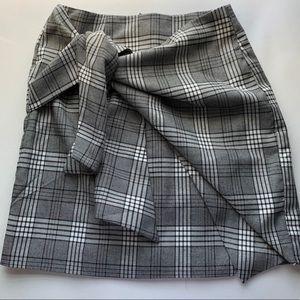 Lovers + Friends Skirts - Lovers + Friends Julie Wrap Plaid Mini Gray Skirt